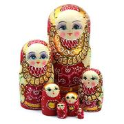Wooden Russian Dolls Matryoshka Red 7pc